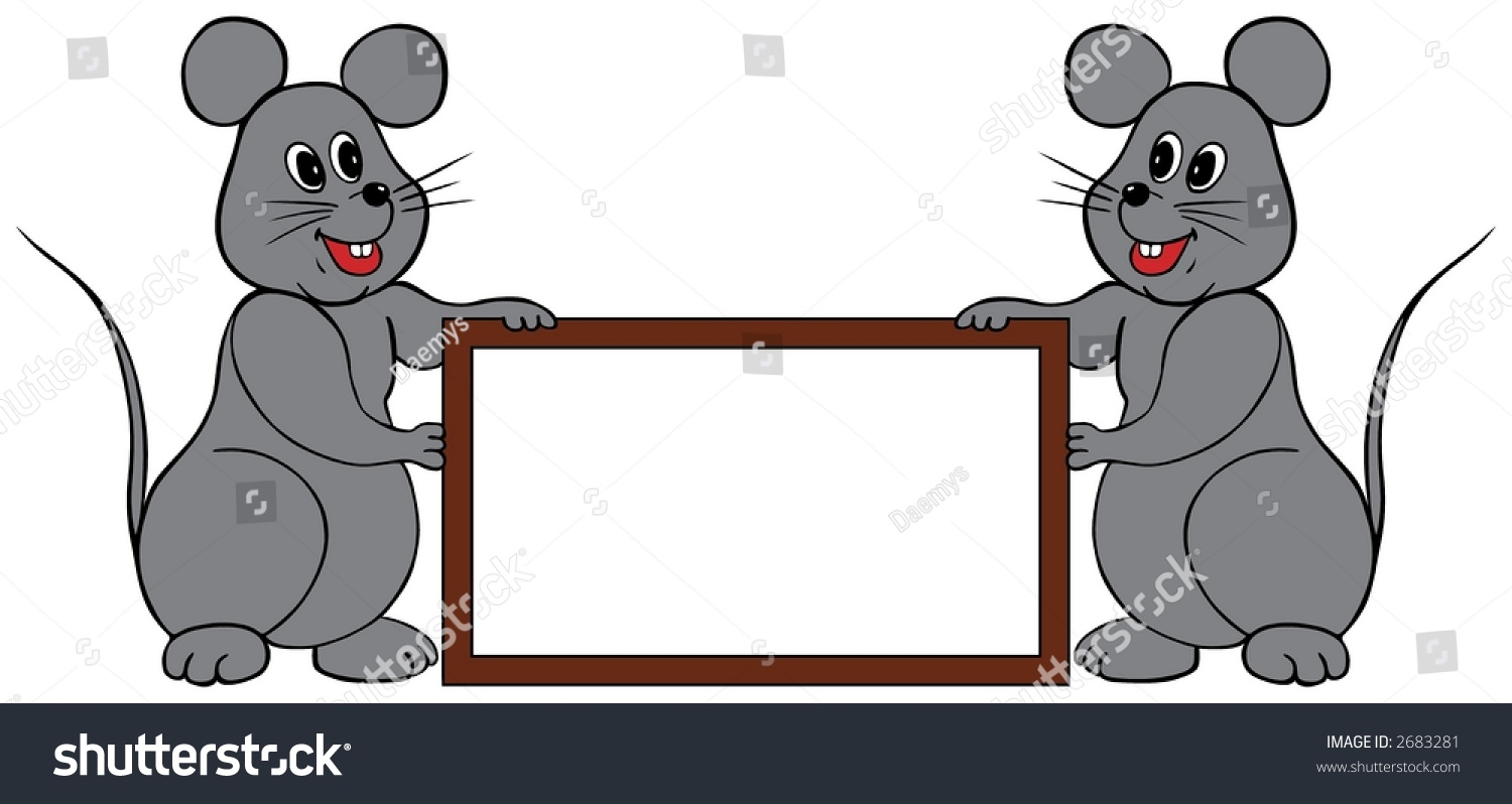 Two Mice Holding Frame Write Any Stock Vector (2018) 2683281 ...