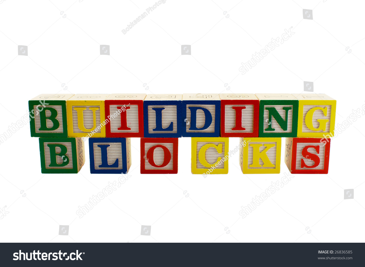 Vintage alphabet blocks spelling out the words building blocks stock