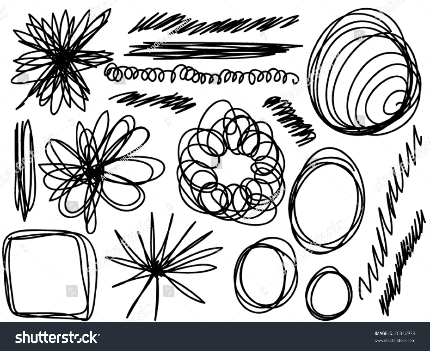stock vector collection of various shapes of scribbles 26836978 collection various shapes scribbles stock vector 26836978 on scribbles coloring book