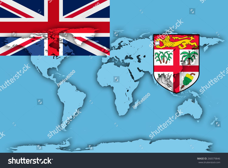 Fiji Flag World Map Background Stock Illustration Royalty Free