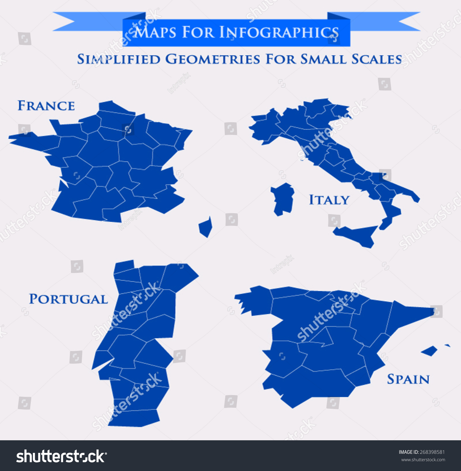 Vector Map Set Showing Regions France Stock Vector - Portugal map regions