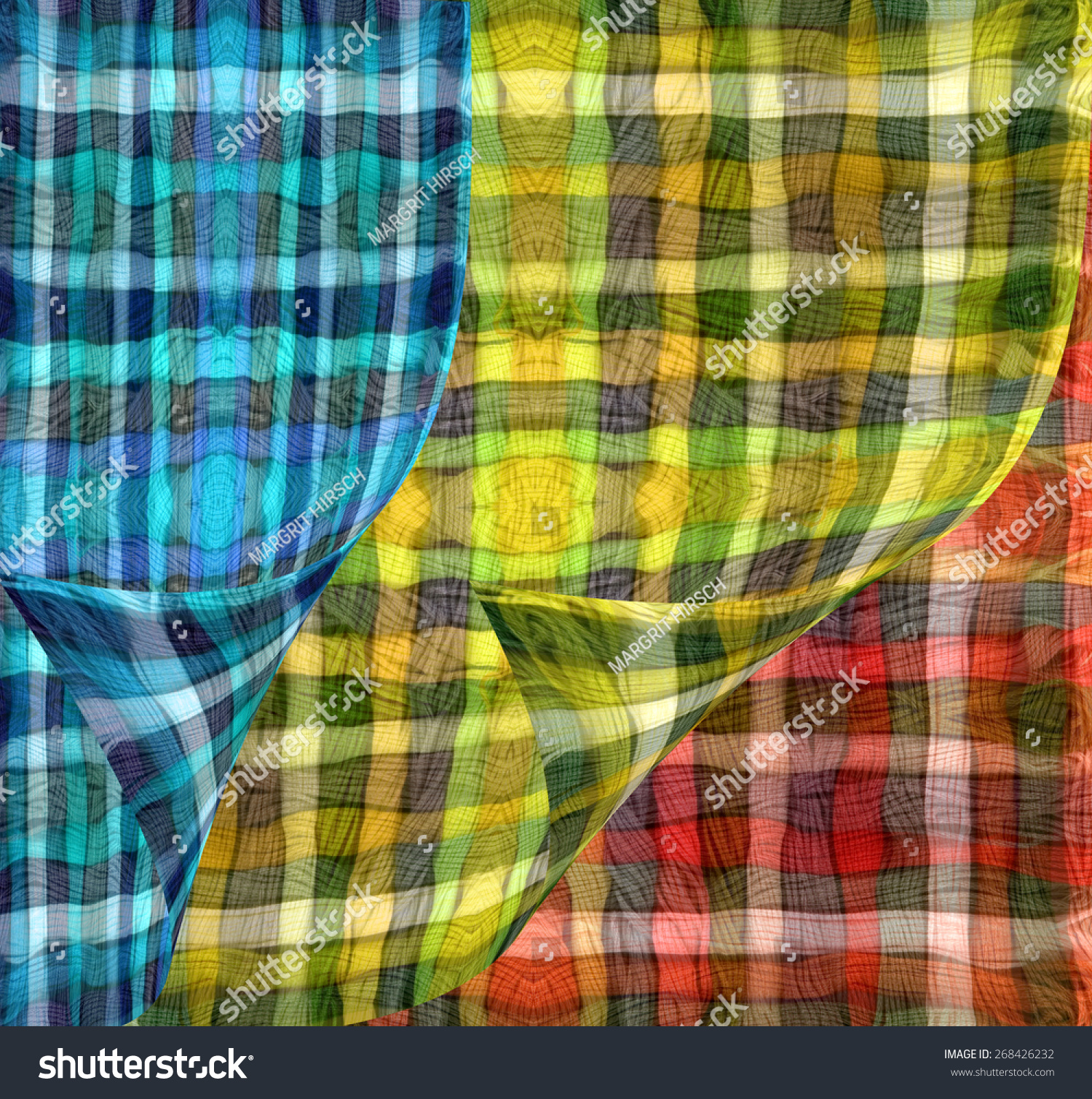 Colorful Sheer Curtains Red Yellow Blue Stock Photo Edit Now 268426232