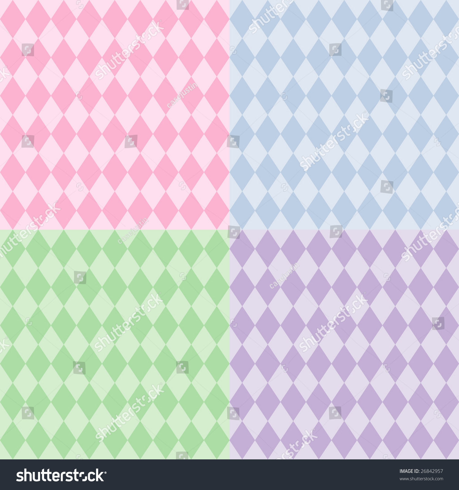 Pastel Purple Pink Green Blue Timber Wood Look: Harlequin Seamless Patterns: Diamond Design Backgrounds In