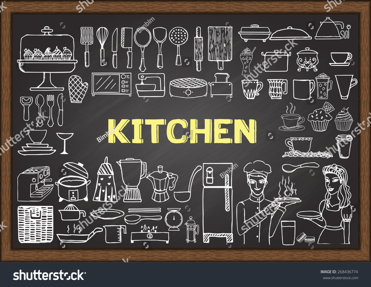 Hand drawn kitchen equipment on chalkboard stock vector