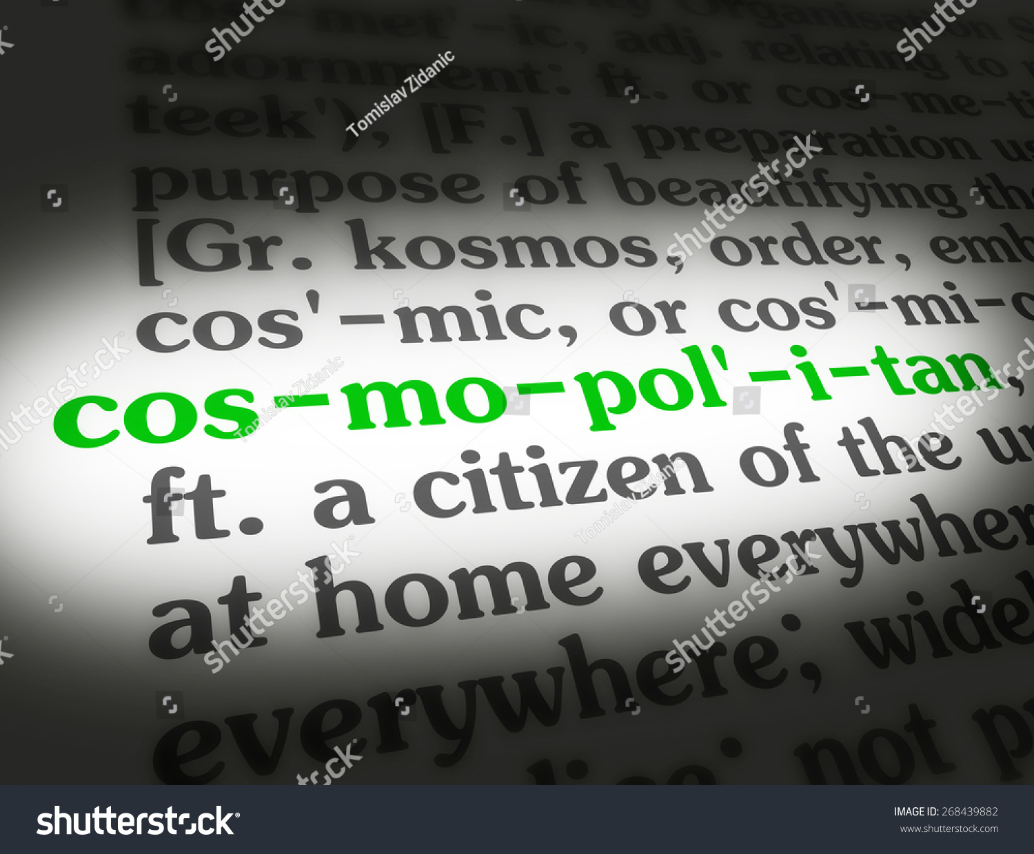 dictionary definition word cosmopolitan stock illustration 268439882