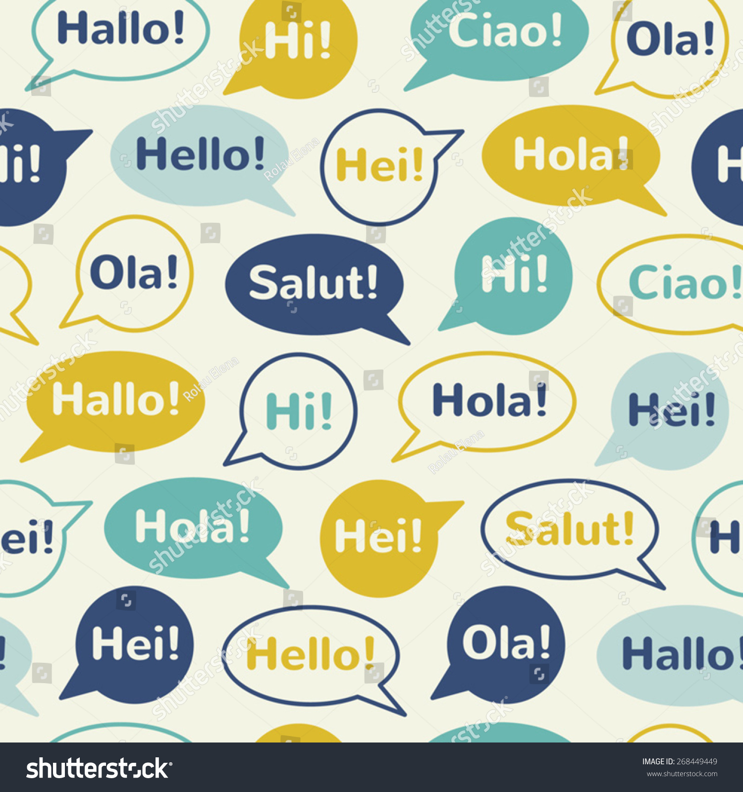 Speech Bubbles Greetings Different Languages English Stock Vector