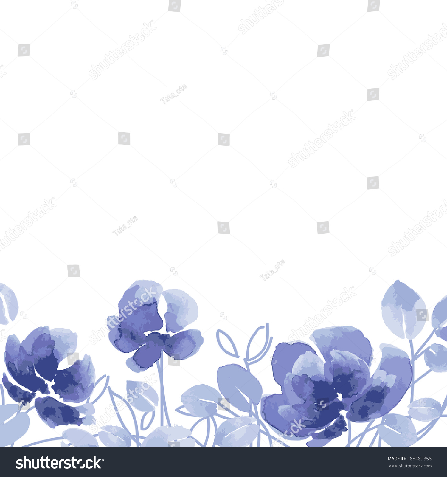 Watercolor Vector Flowers Purple Flowers On Stock Vector Royalty