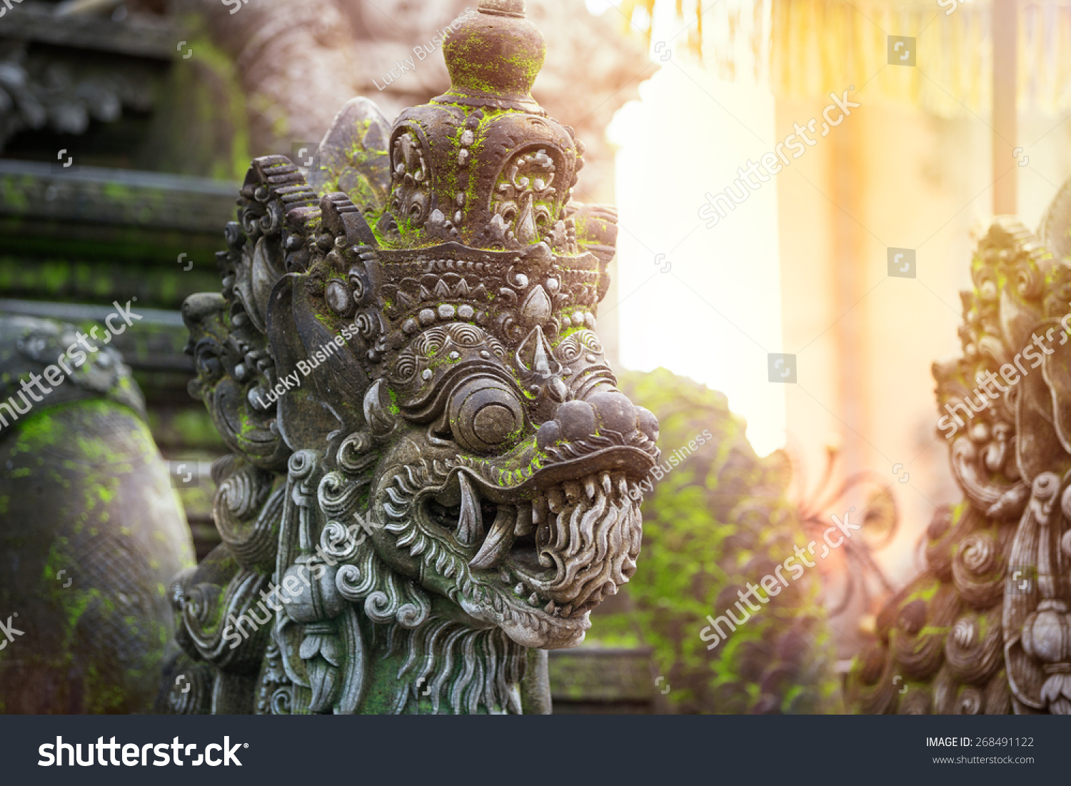 Traditional Balinese stone sculpture art and culture at Bali Indonesia