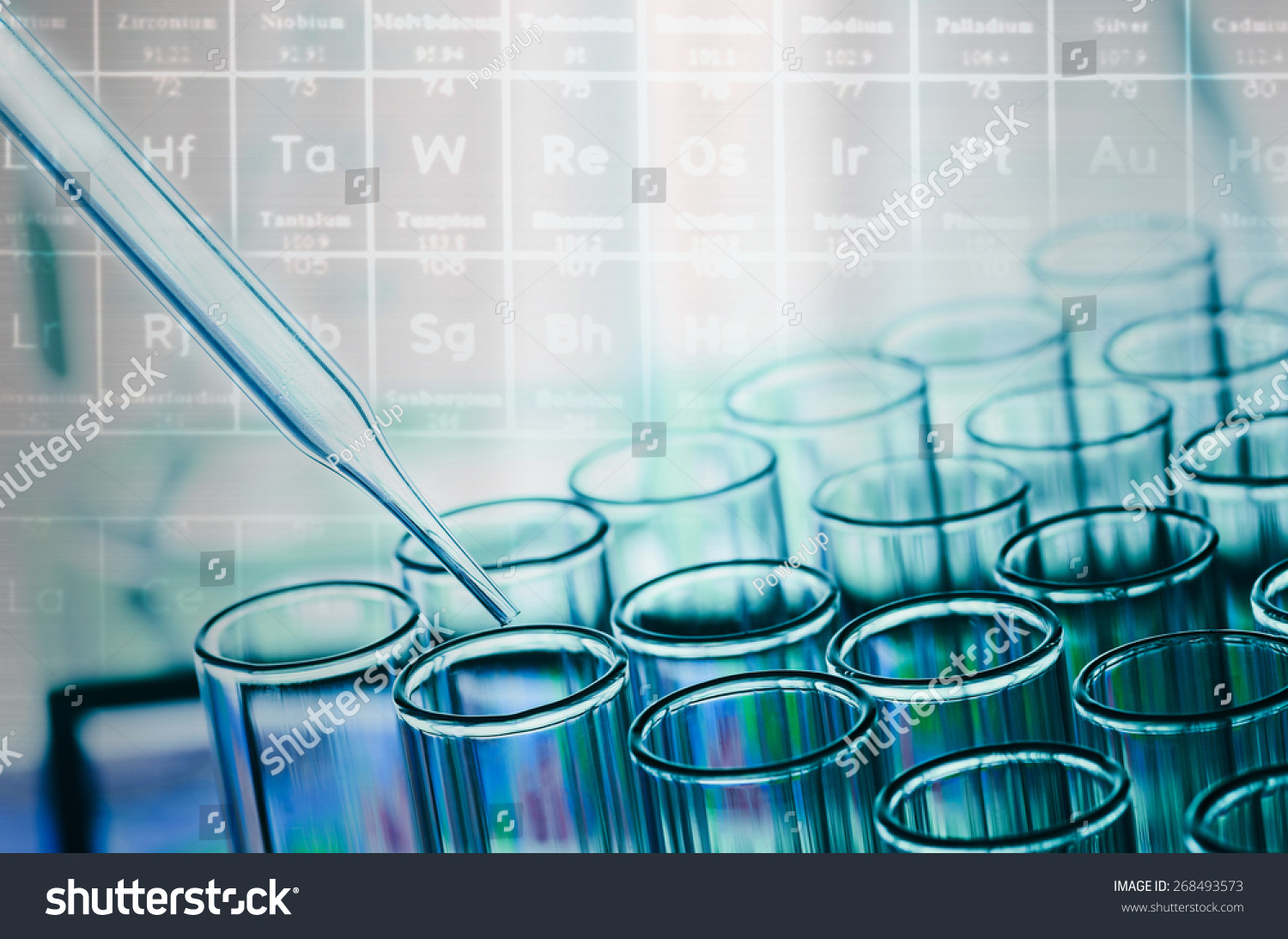 Science laboratory test tubes on periodic stock photo 268493573 science laboratory test tubes on periodic table background gamestrikefo Image collections