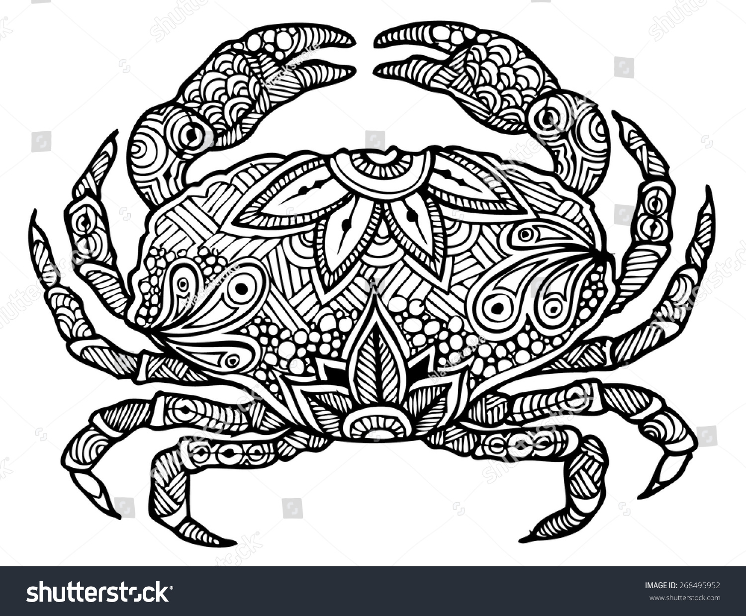 Zentangle Style Crab Vector Stock Vector 268495952
