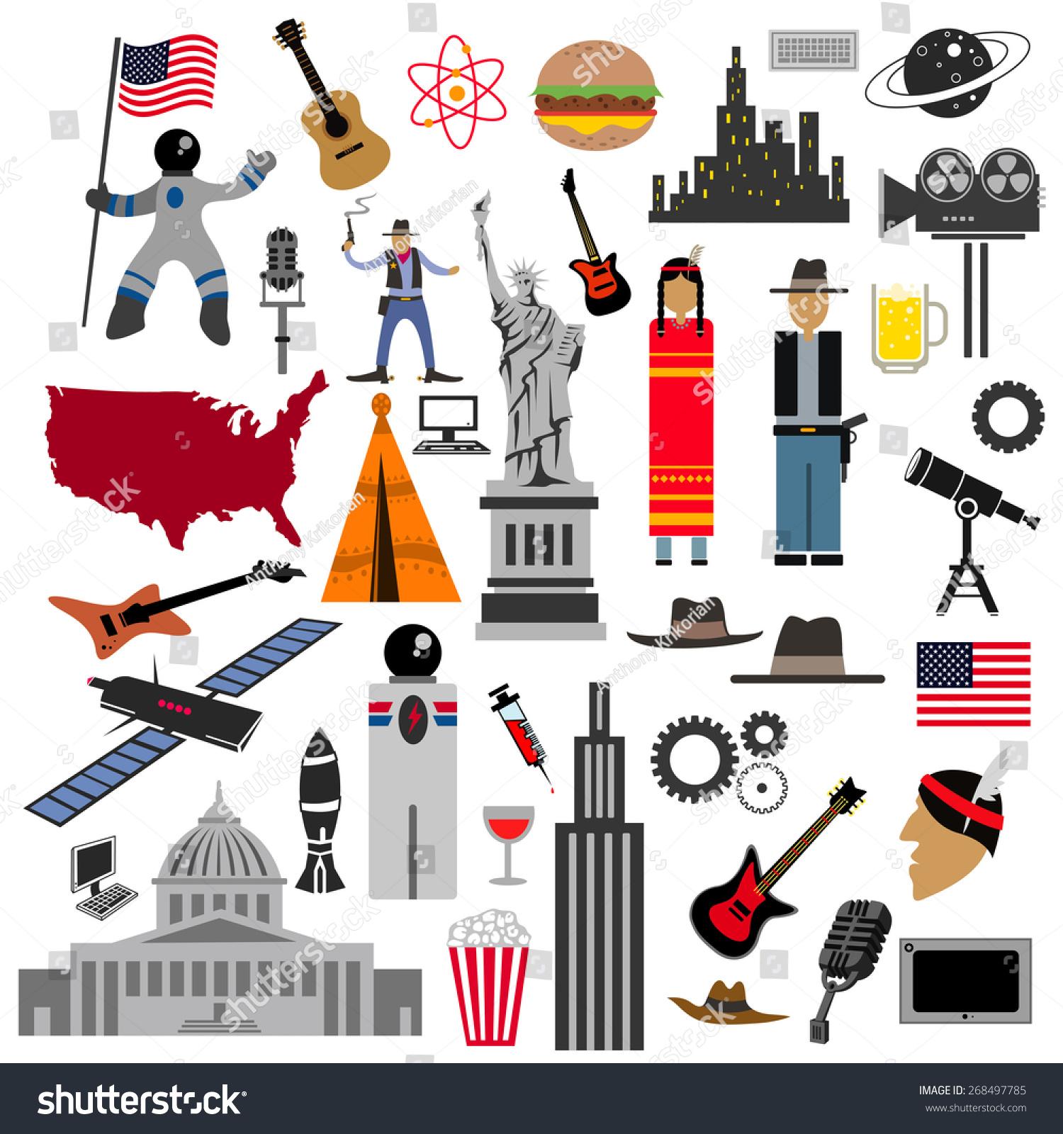 Usa Icon Collection American Flag Art Stock Vector - Usa map and landmarks