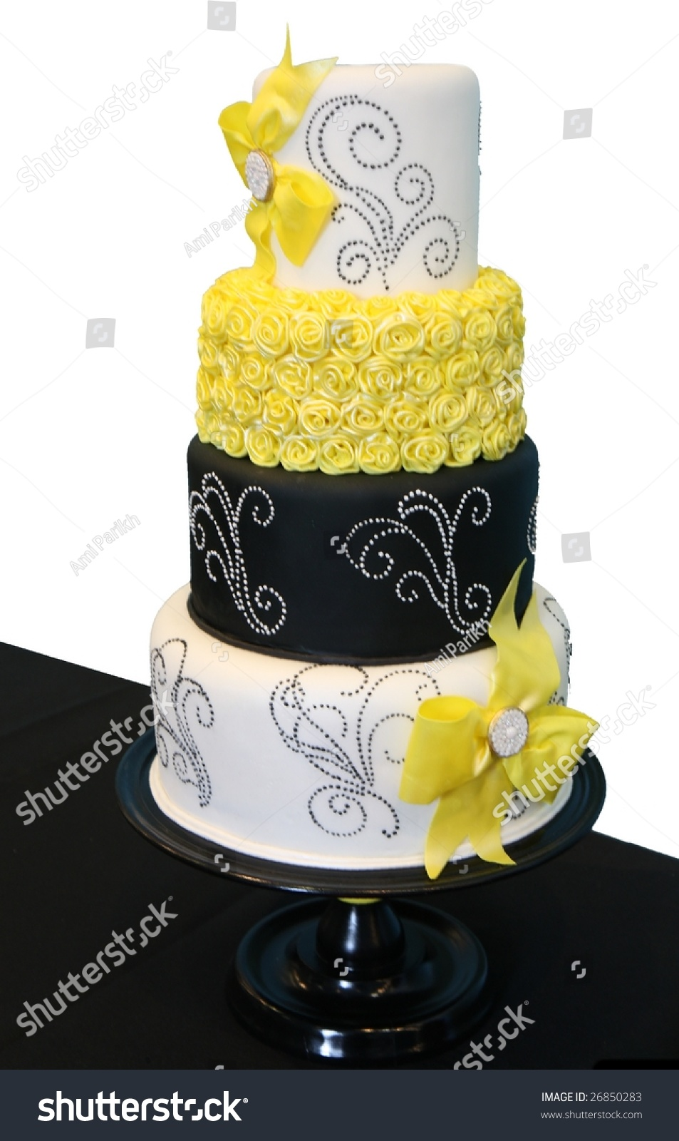 Black White Patterned Wedding Cake Yellow Stock Photo (Edit Now ...