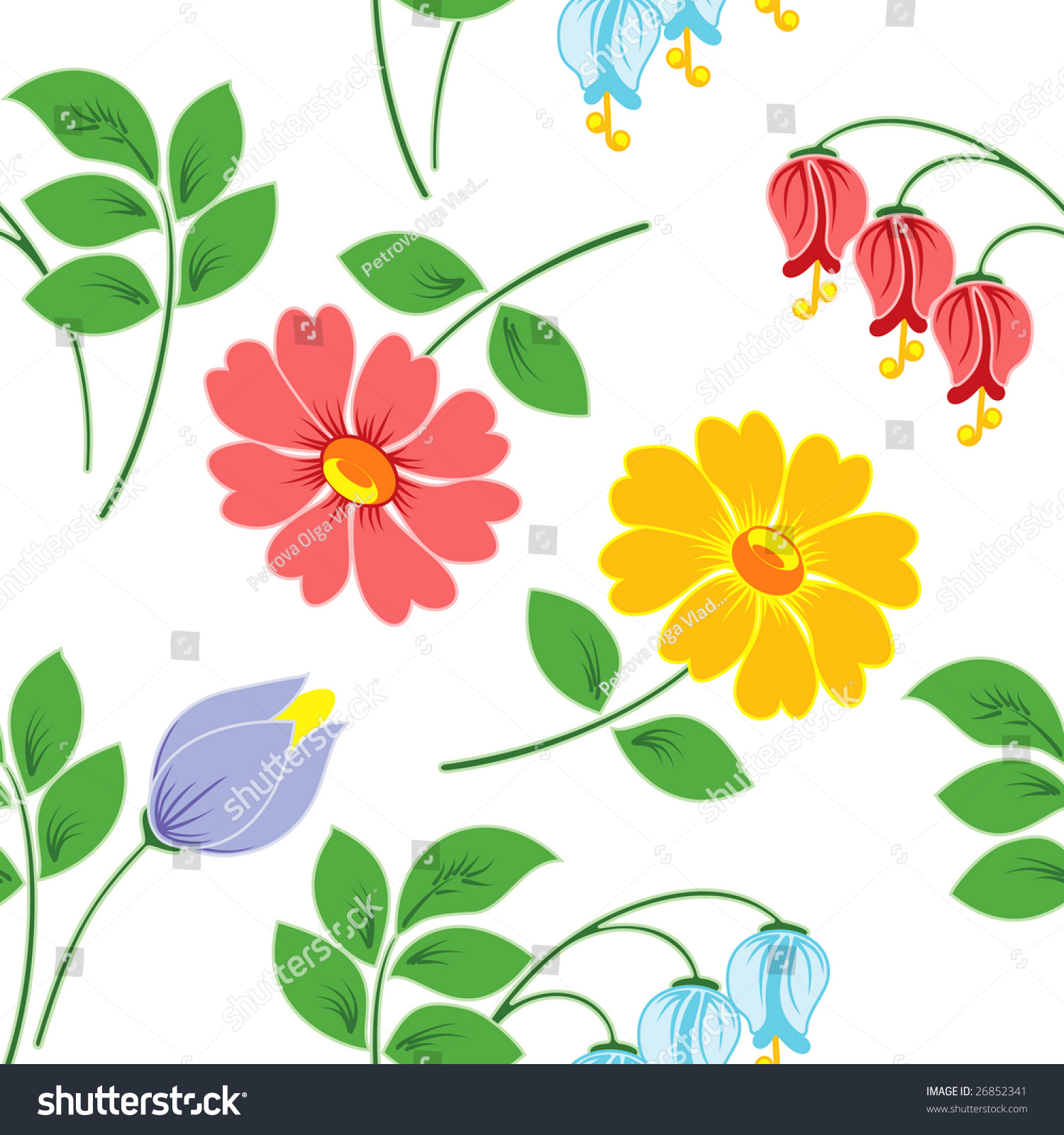 Multicoloured Flowers On White Background Seamless Stock