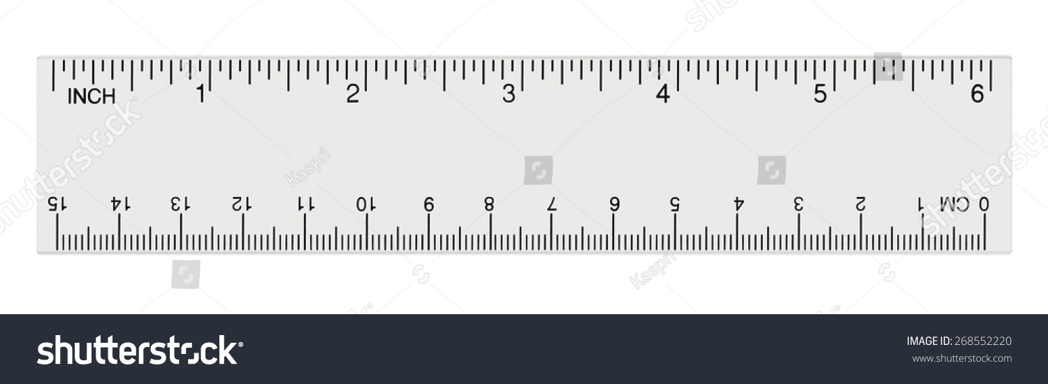 white transparent ruler isolated inch centimetre inches