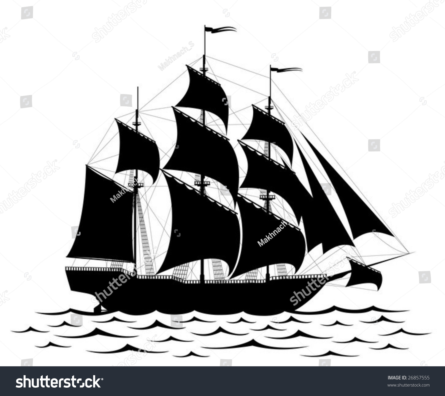 Vector Black Old Ship Waves Isolated Stock Vector 26857555