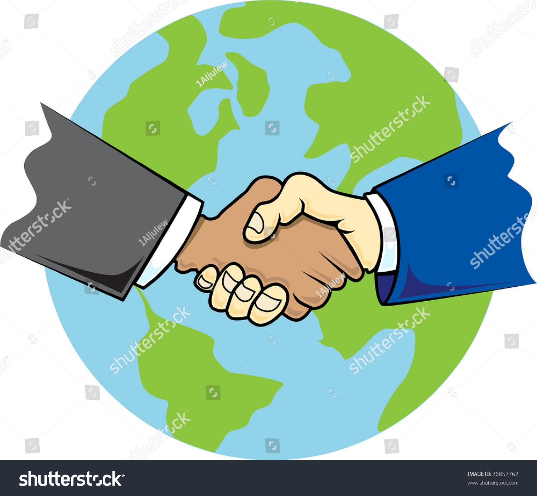 This Depiction Global Handshake Globe Background Stock