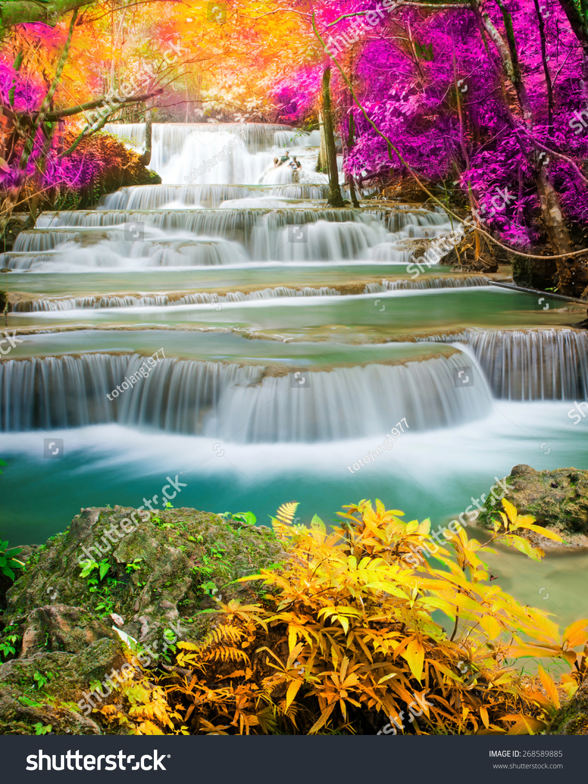 Amazing Waterfall Colorful Forest Stock Photo 268589885 ... - photo#1