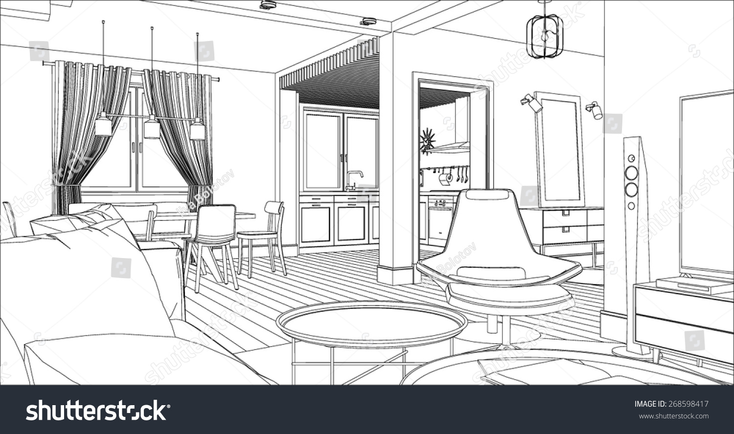 Living Room Interior Drawing. Architectural Design.