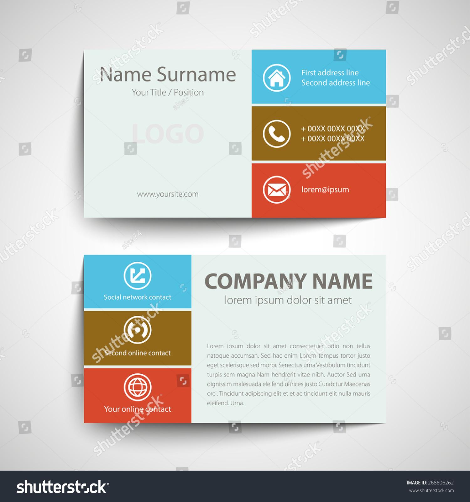 Modern Simple Business Card Template Vector Stock Vector 268606262 ...