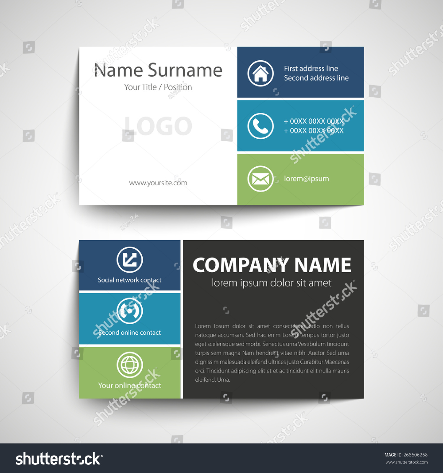 Modern Simple Business Card Template Vector Stock Vector 268606268 ...