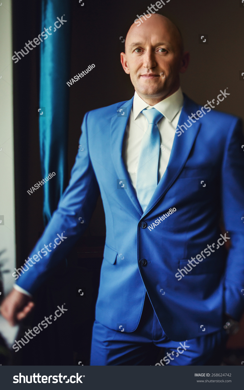 Groom Smiling Bald Brown Eyes Blue Stock Photo & Image (Royalty-Free ...