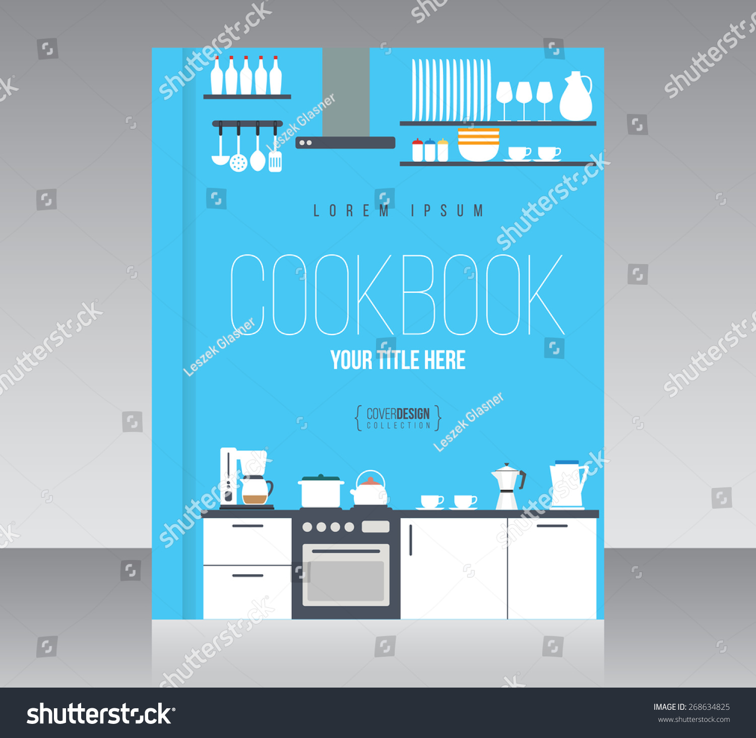 cookbook cover design vector template minimal stock vector royalty