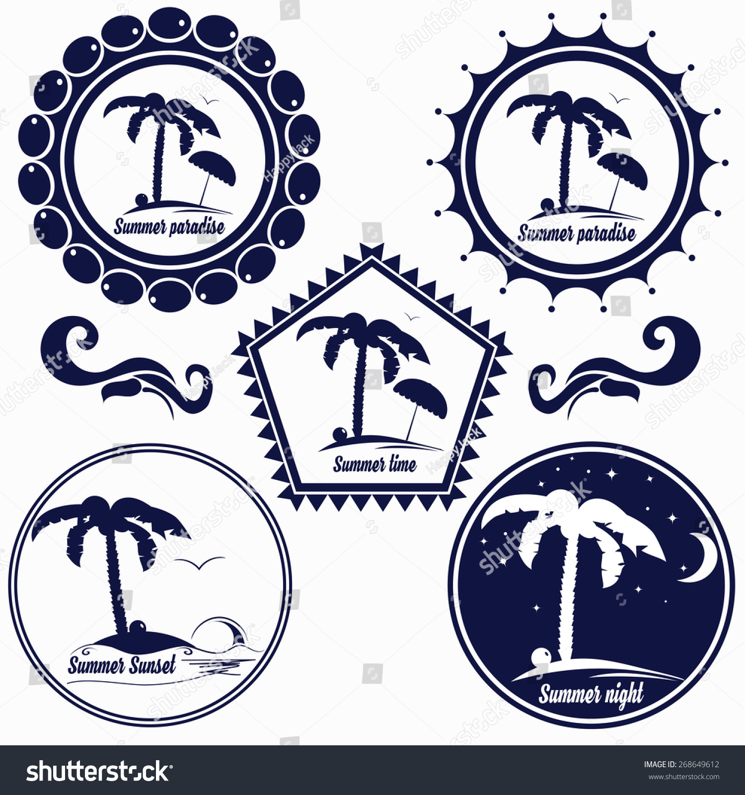 Set Badges Summer Beach Paradise Stock Vector 268649612