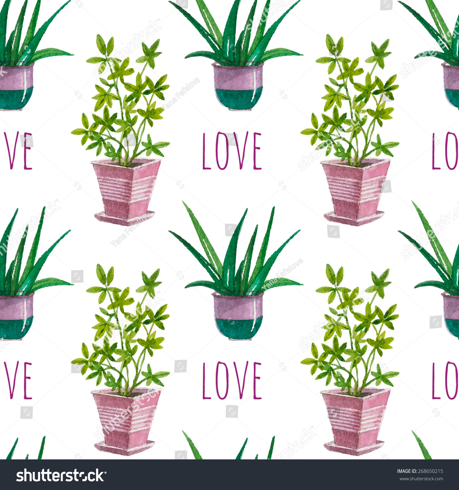 Vector Hand Drawn Flower Potslove Home Stock Vector 268650215 ...