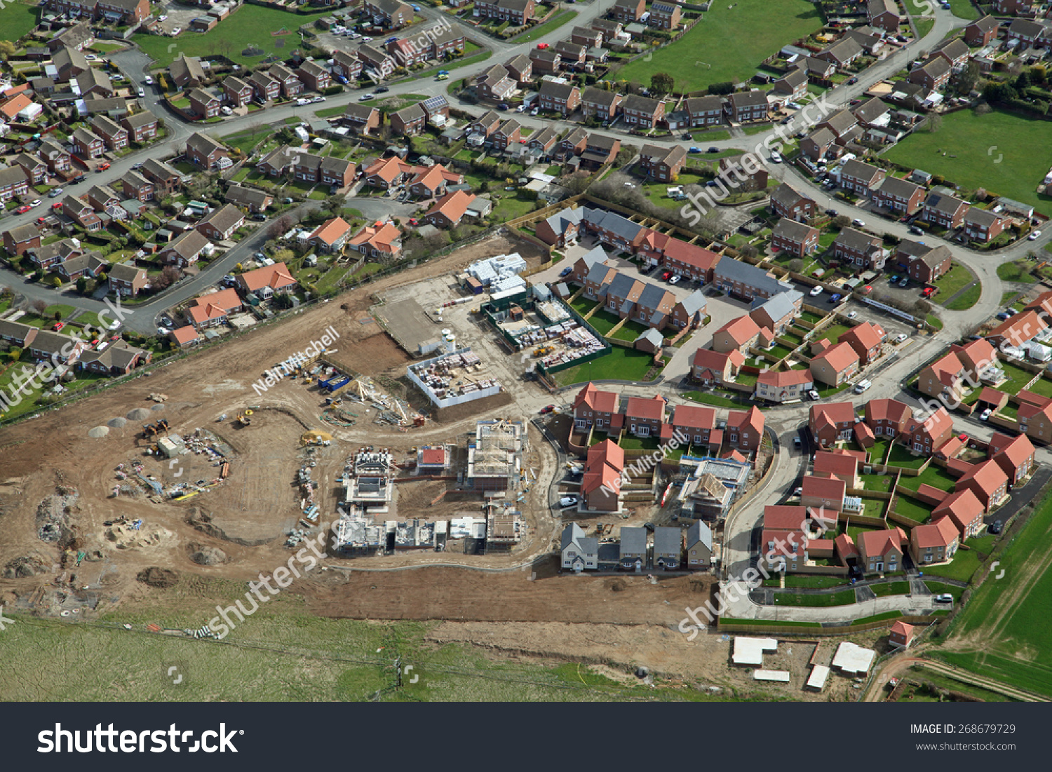 Aerial View Of A New Housing Development Being Built In