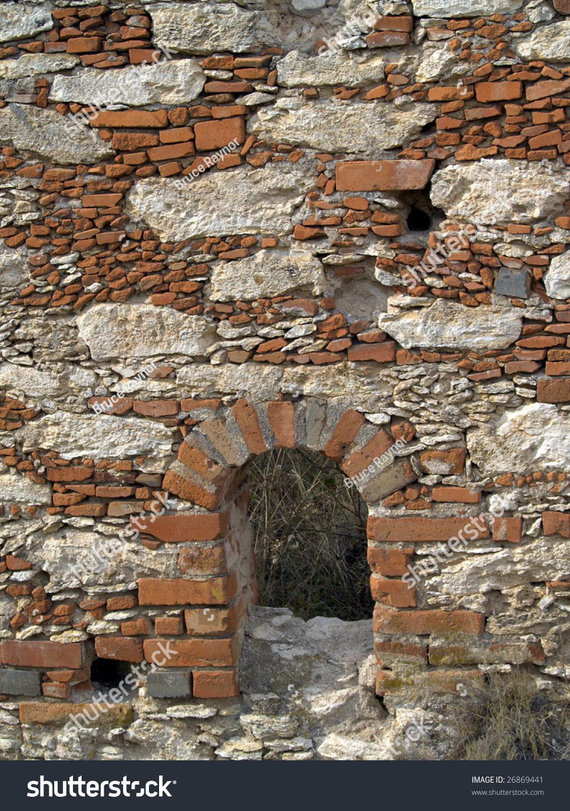 Brick stone wall portal ruins pozos stock photo 26869441 for American brick and stone