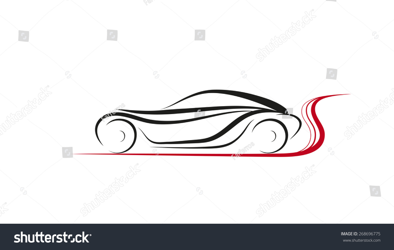Vector Drawing Of Abstract Car Logo Design Concept. Emblem Fashion Car. Symbols Logo And Icon ...