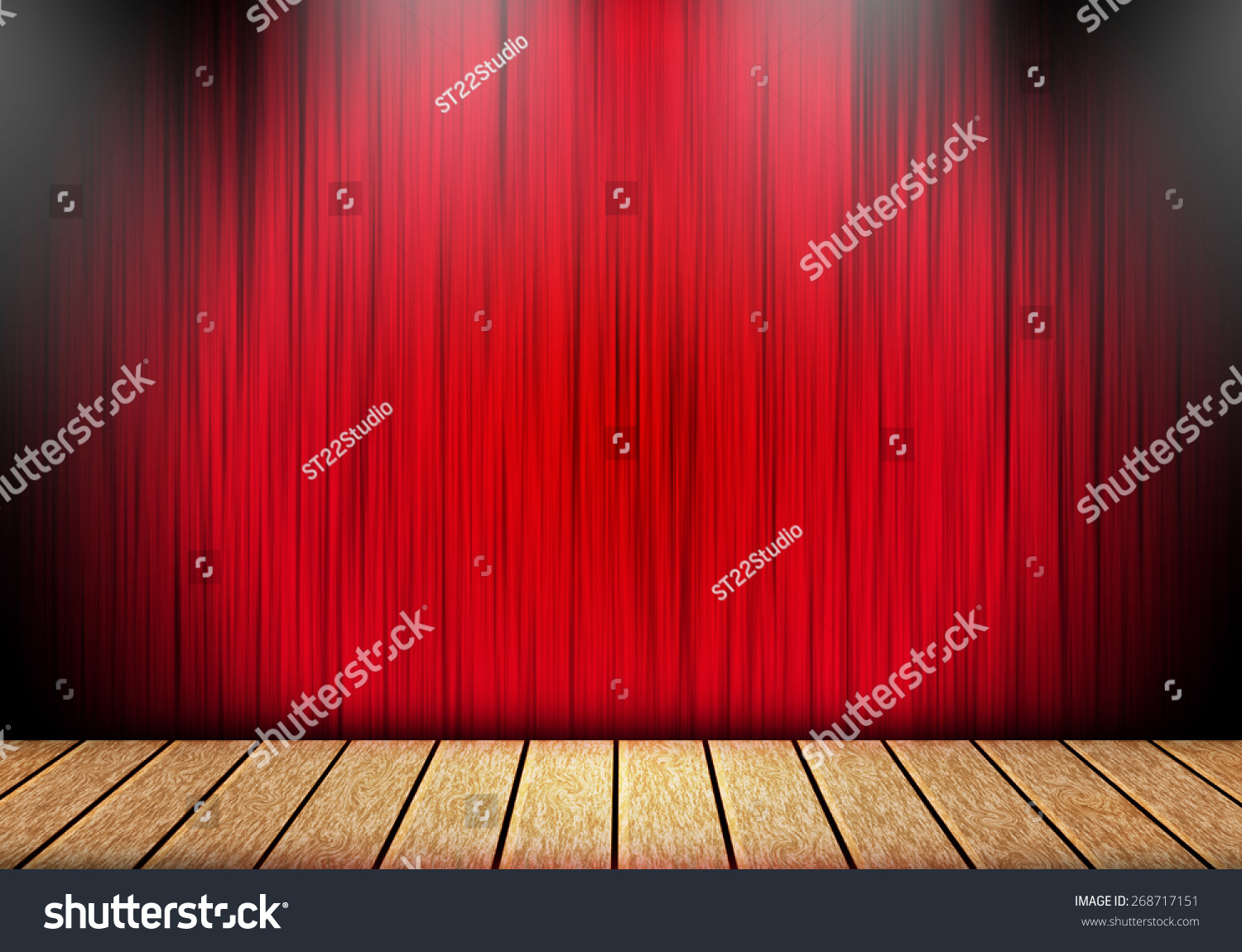 Red stage curtain with lights - Red Curtain And Wood Stage Background