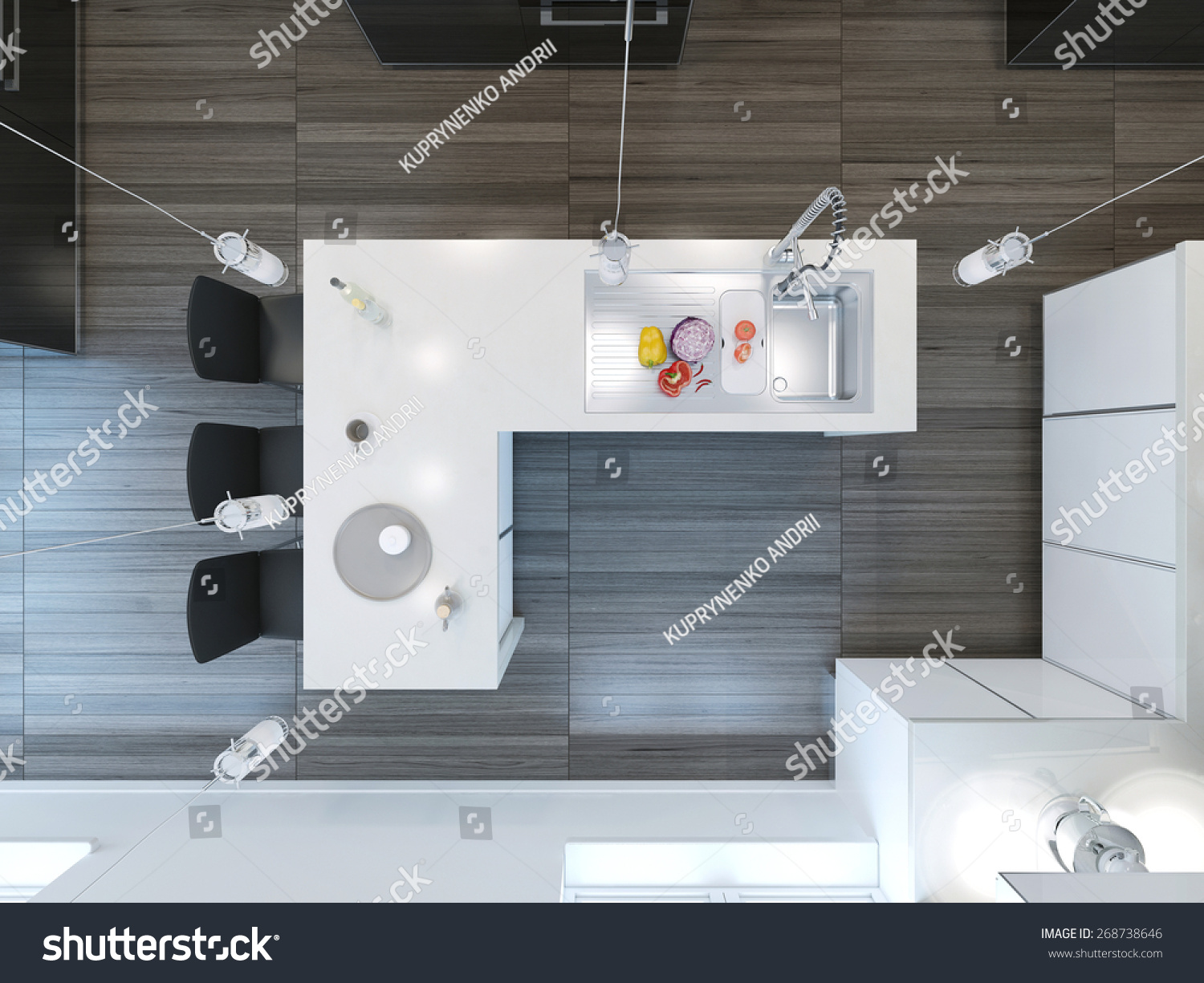 Kitchen View From Above : Top view modern kitchen bar d render stock photo