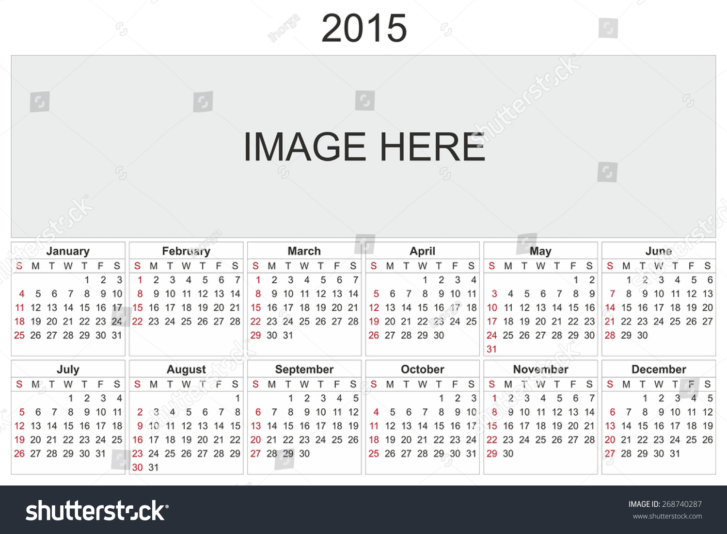 Calendar Design Using Photo : Calendar designed by computer using stock