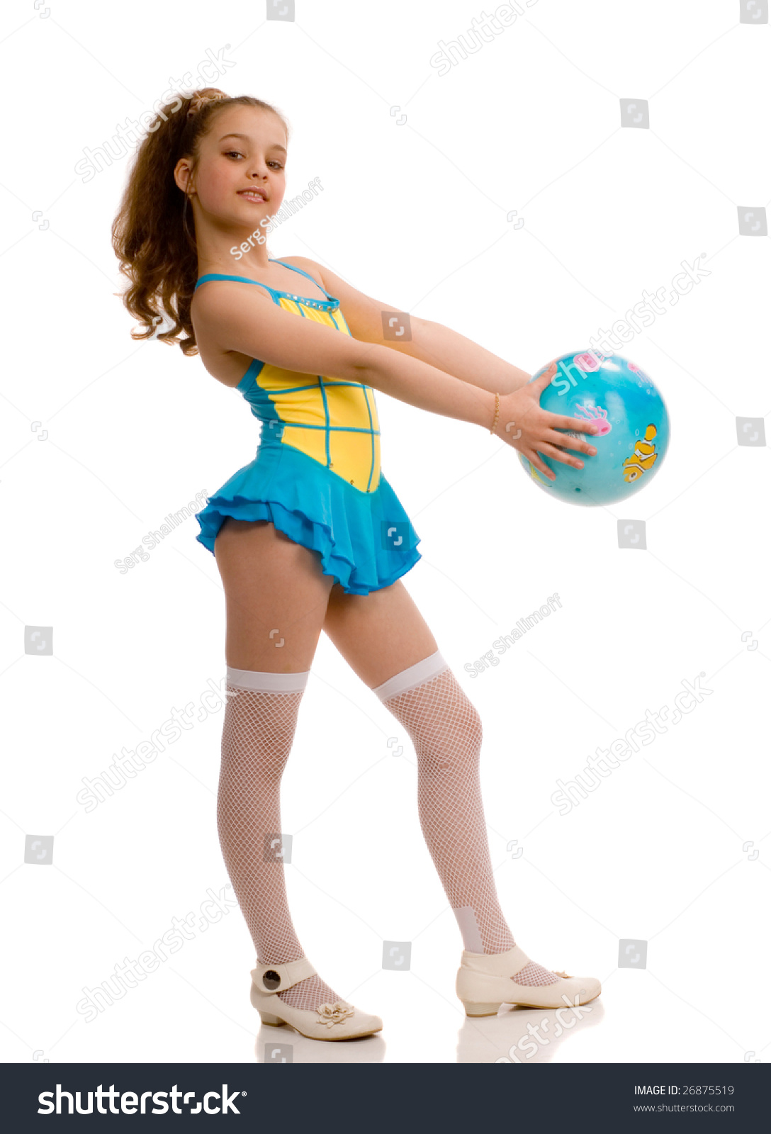 gymnastic girl Cute girl with a gymnastic ball in her hands, isolated on white background