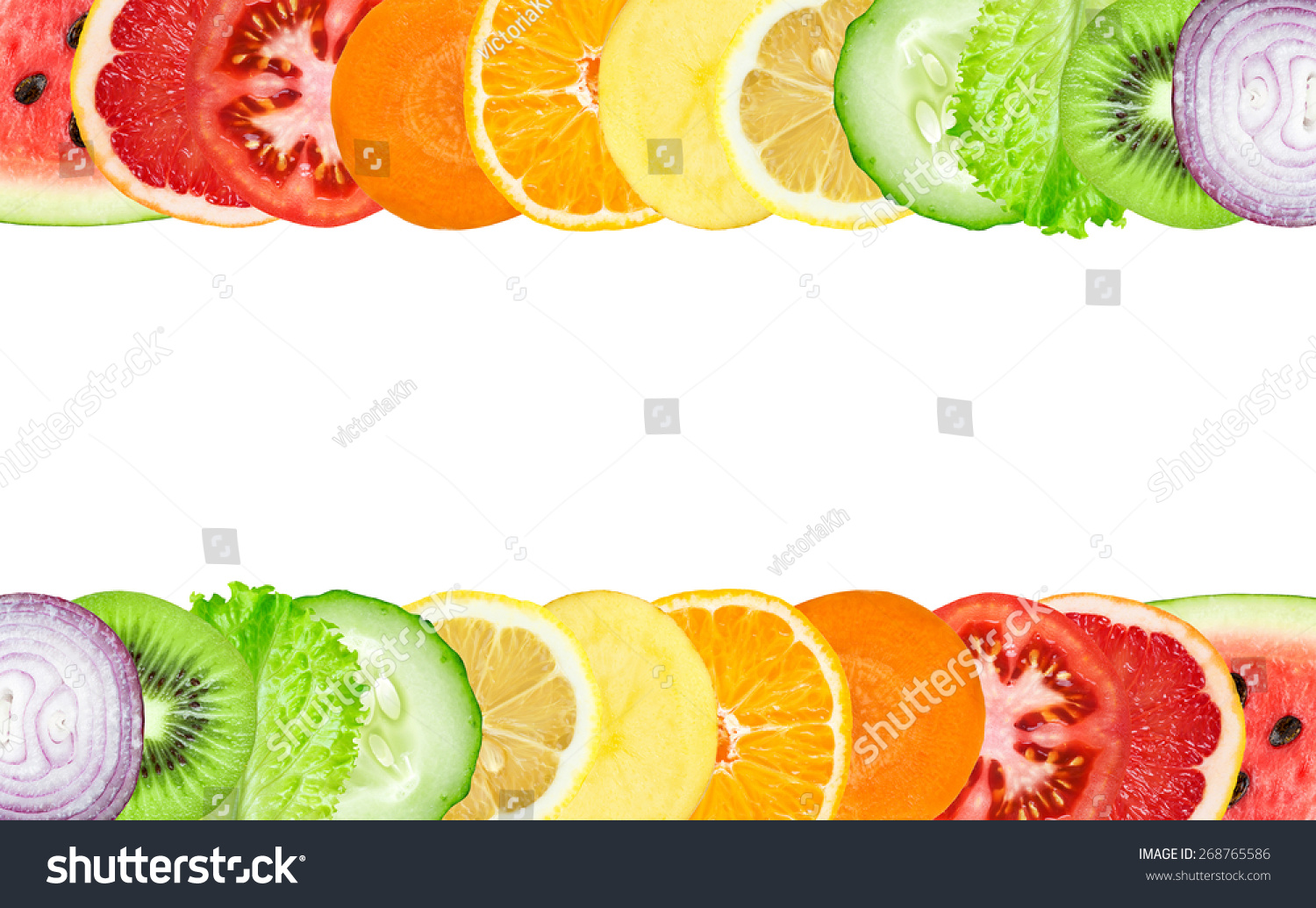 Color Fruit Vegetable Slices On White Stock Photo