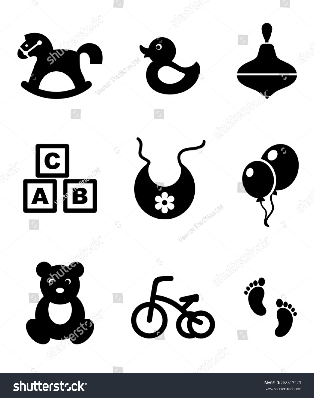 Nine Different Ways You Can Put Your Goals In Writing: Set Nine Different Black White Baby Stock Illustration