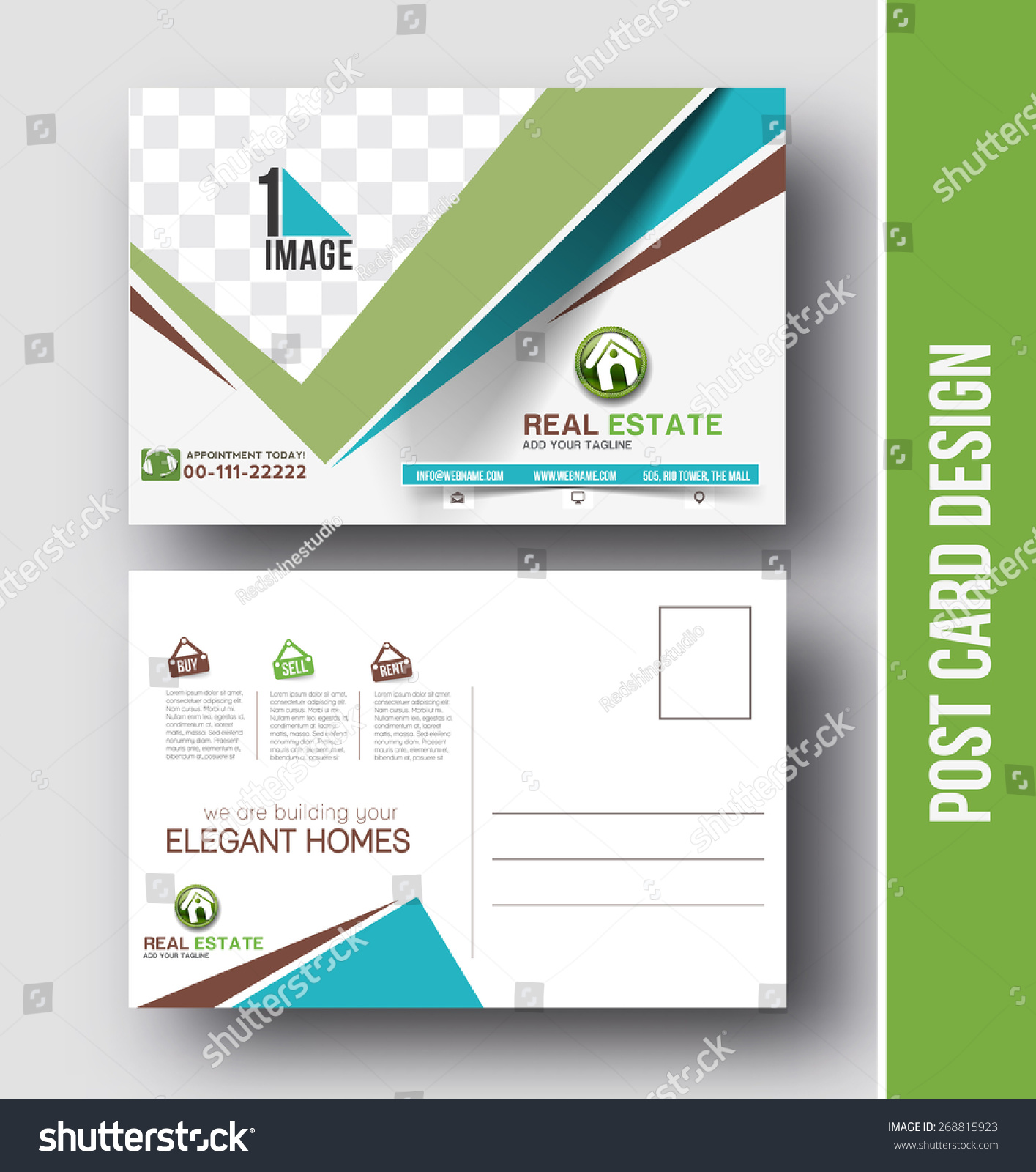 real estate postcard design vector template stock vector 268815923 shutterstock. Black Bedroom Furniture Sets. Home Design Ideas