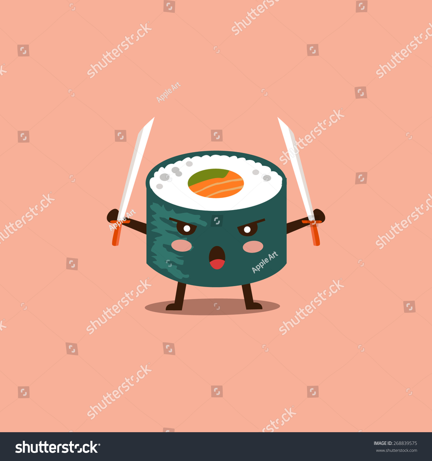 Stock Vector Vector Sushi Cartoon Character Illustration