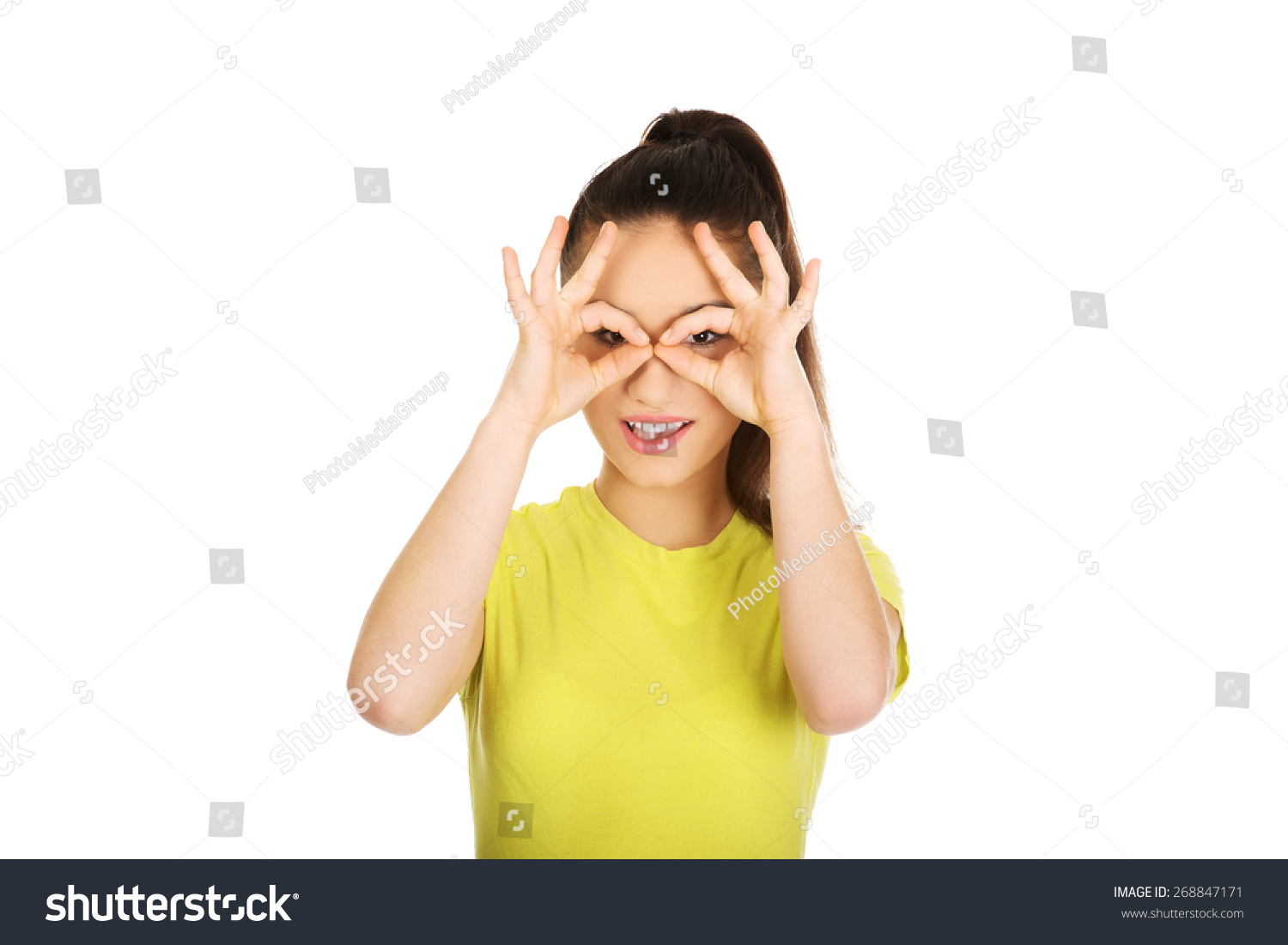 nice Perfect Teenager Part - 17: Teenager woman doing the perfect sign on eye.