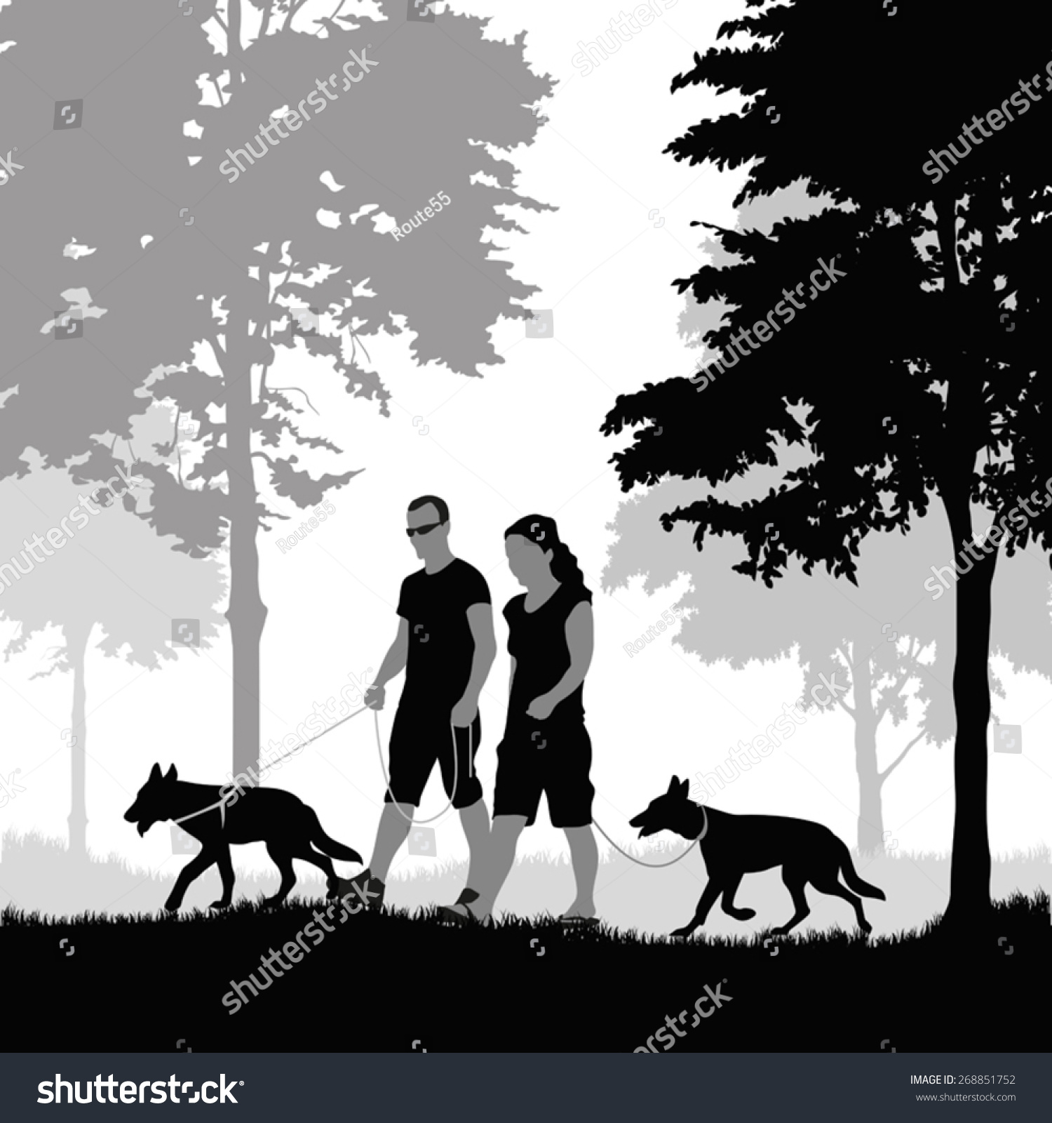 silhouette couple walking their dogs vector stock vector