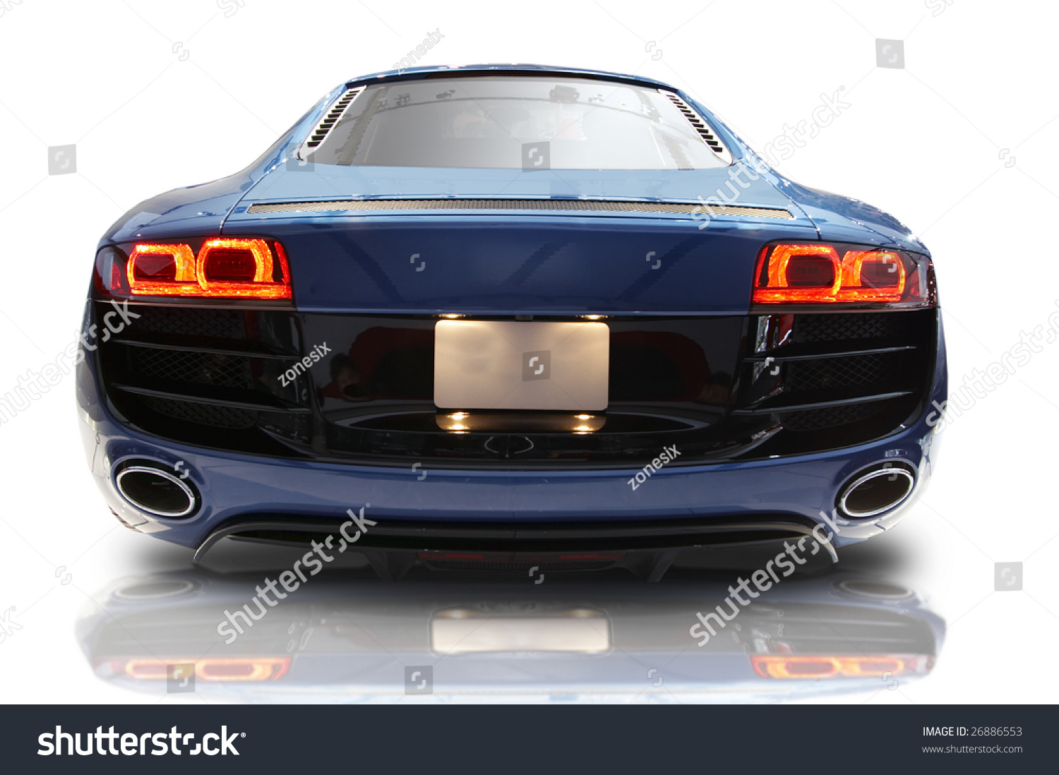 Blue Sports Car On A White Background