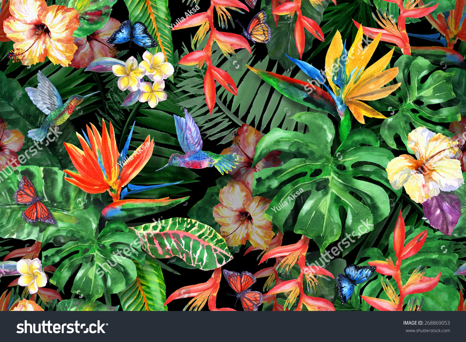 Tropical Flowers Pattern Exotic Flower Plants Stock