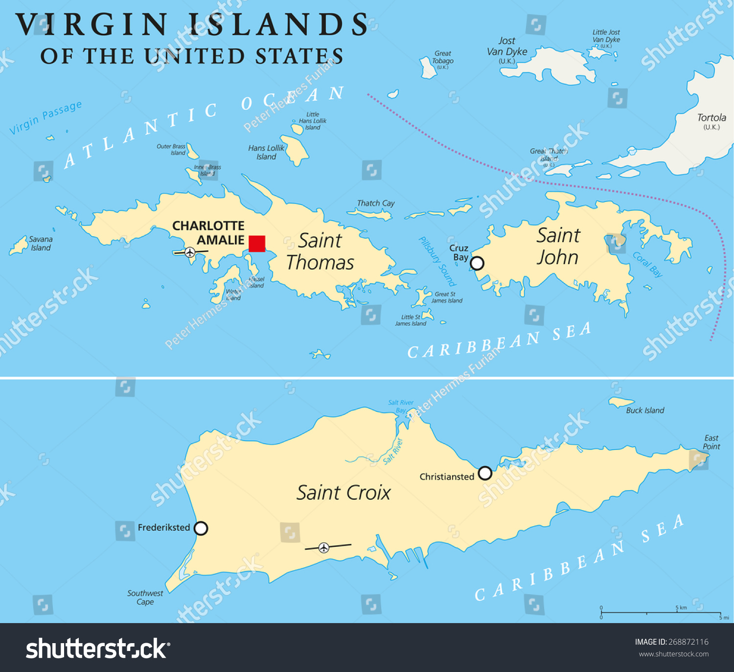 United States Virgin Islands Political Map Stock Vector - Us and caribbean map