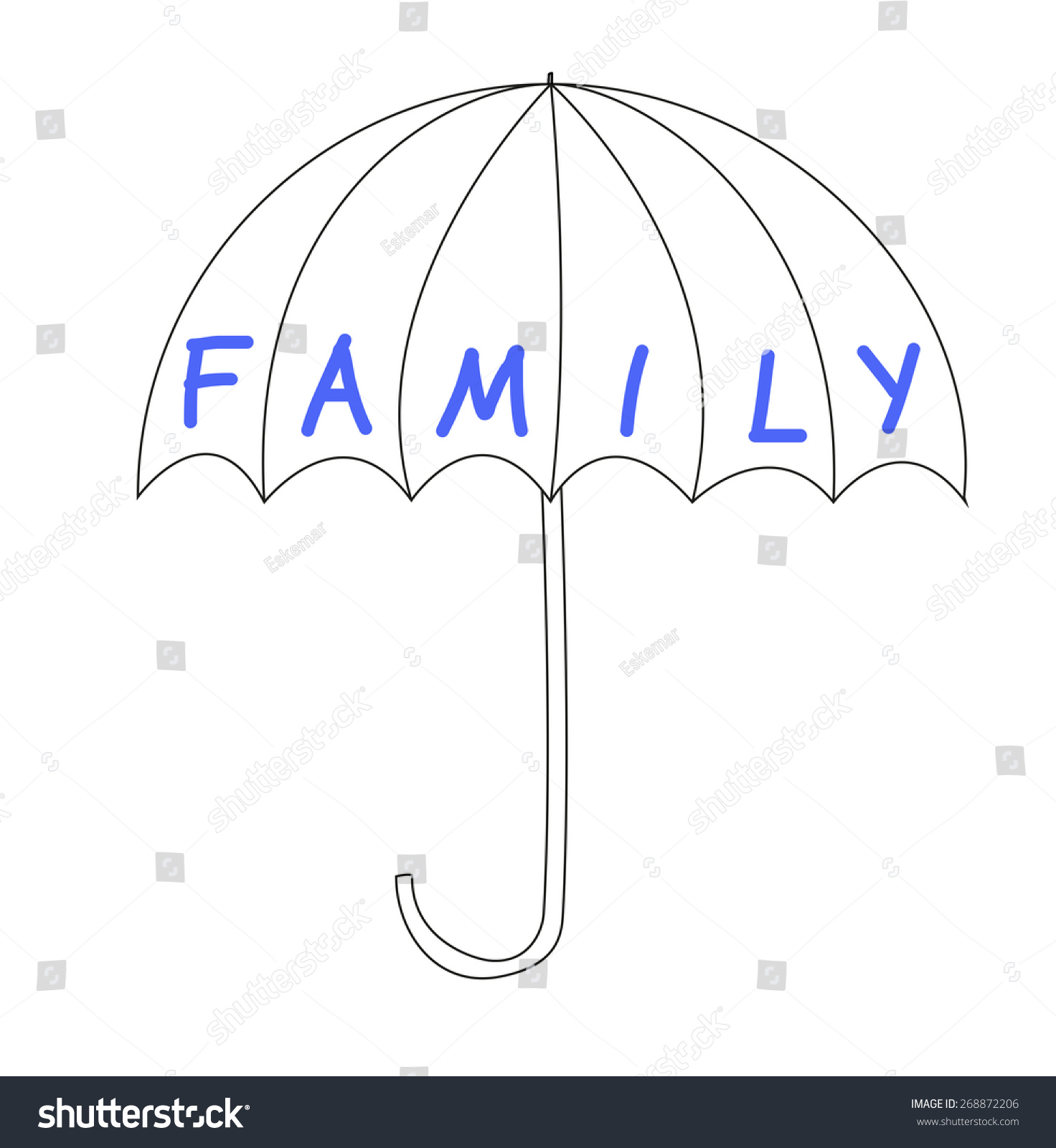 Umbrella Word Family Symbol Protection Stock Illustration 268872206