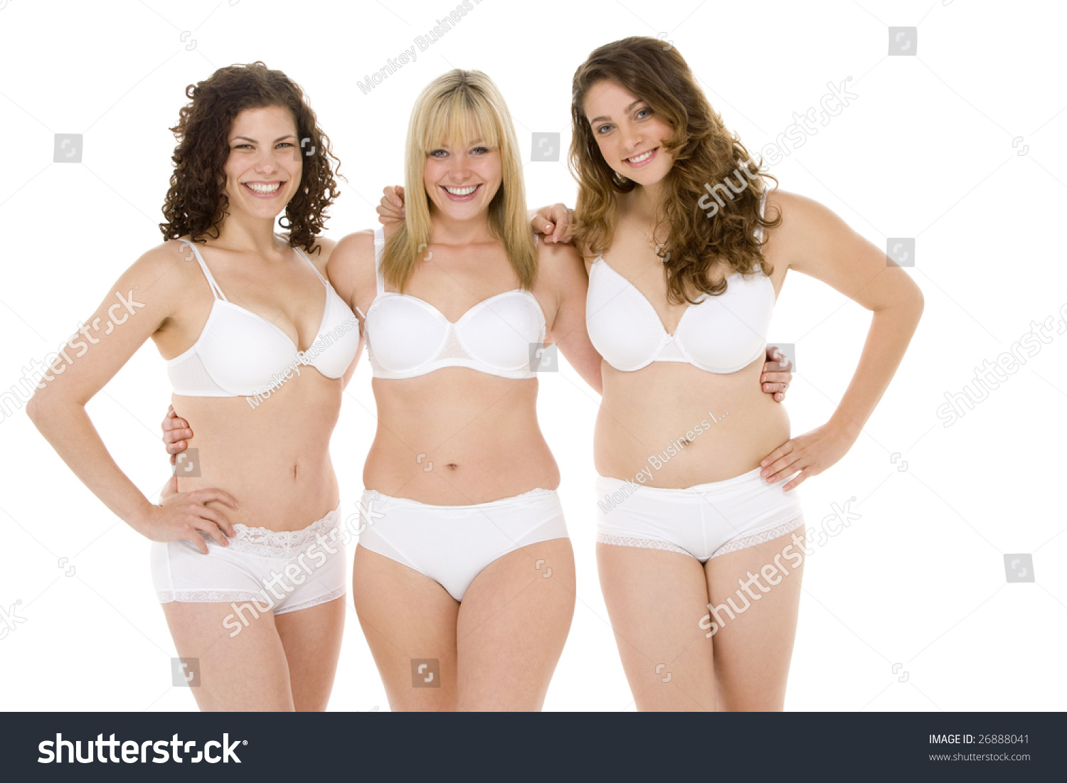 Portrait Plus Size Women Their Underwear Stock Photo 26888041 ...