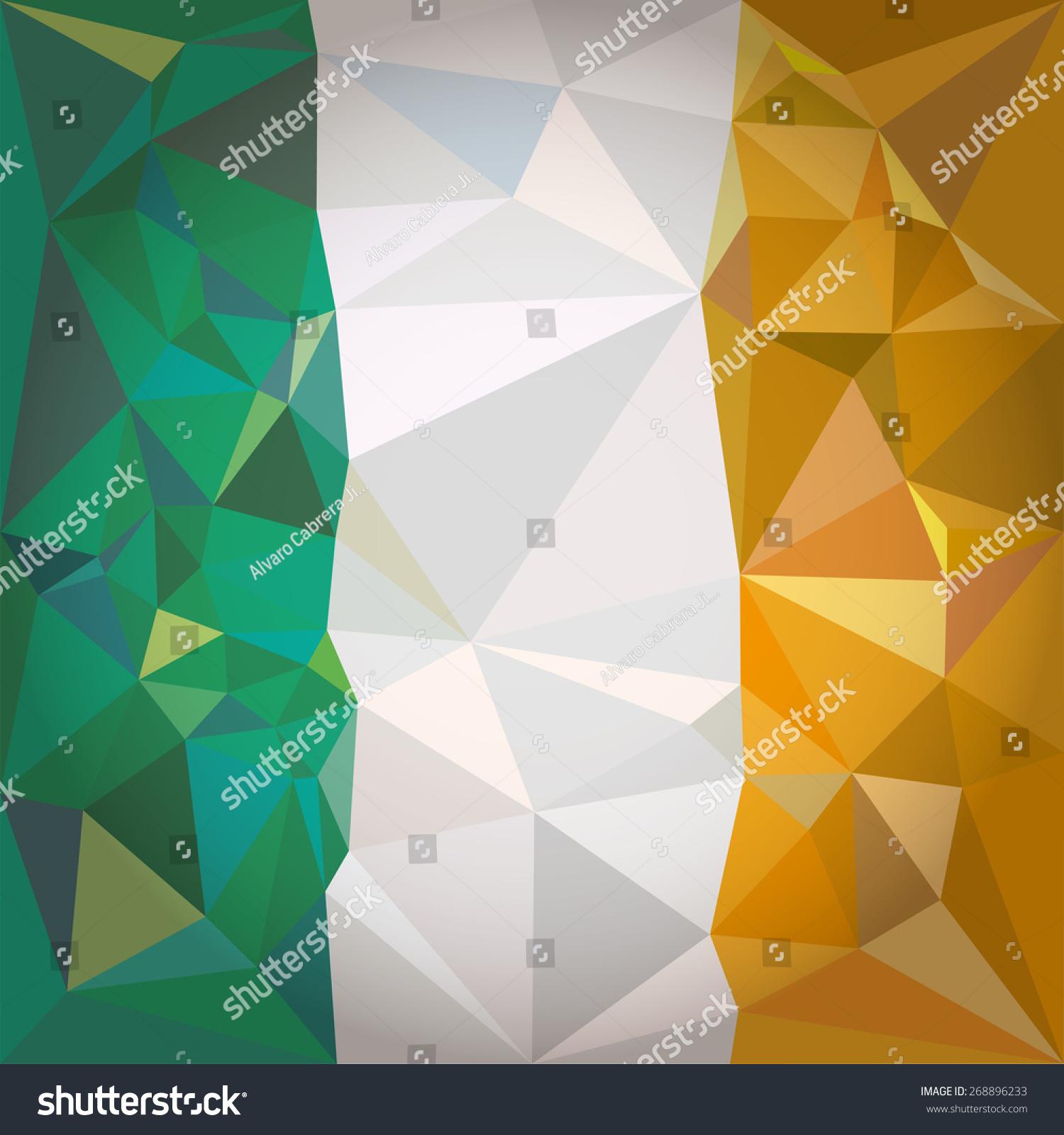 stylized flag ireland irish tricolour vertical stock vector