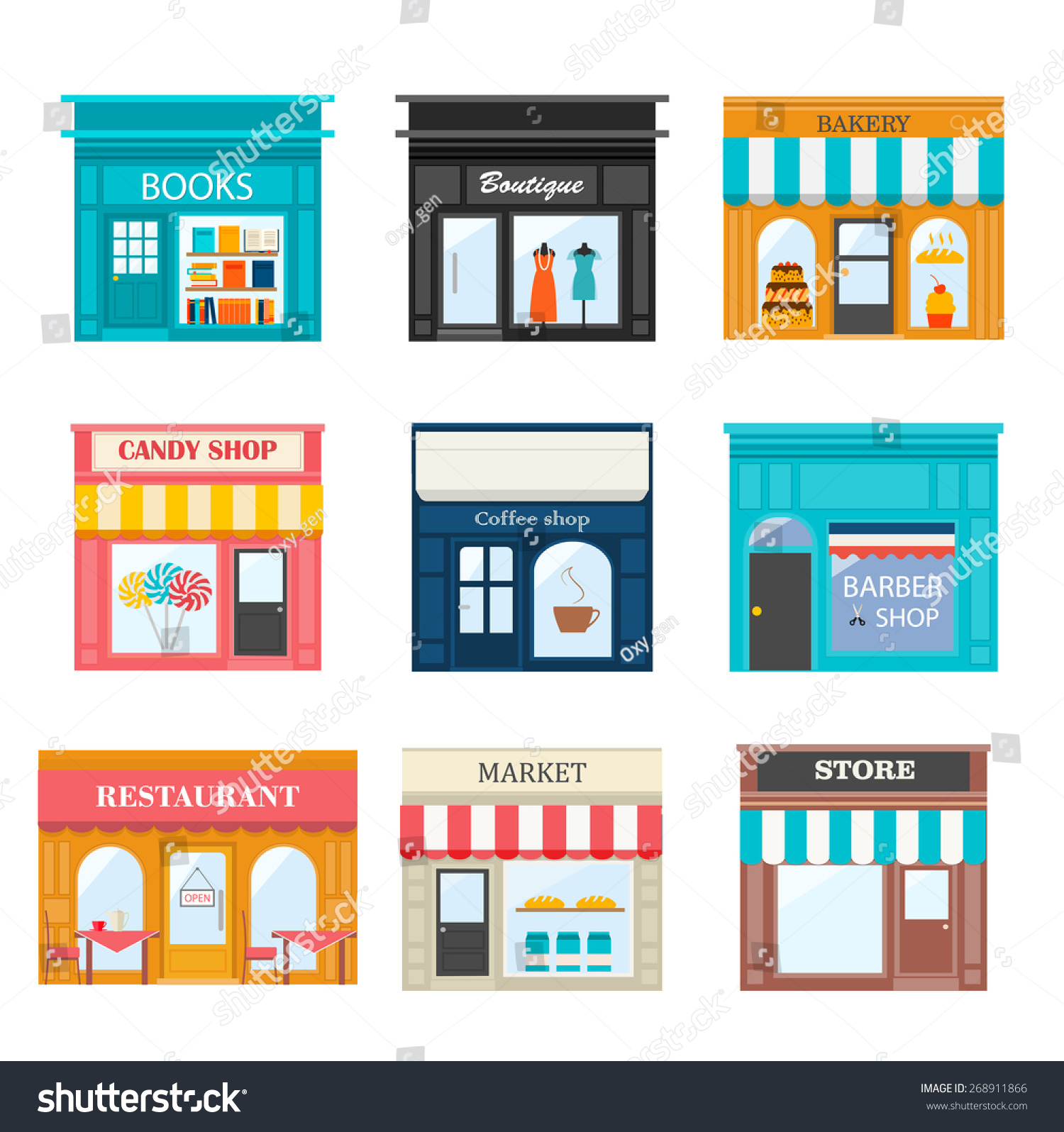 Different Shops Stores Icons Set Includes Stock Vector