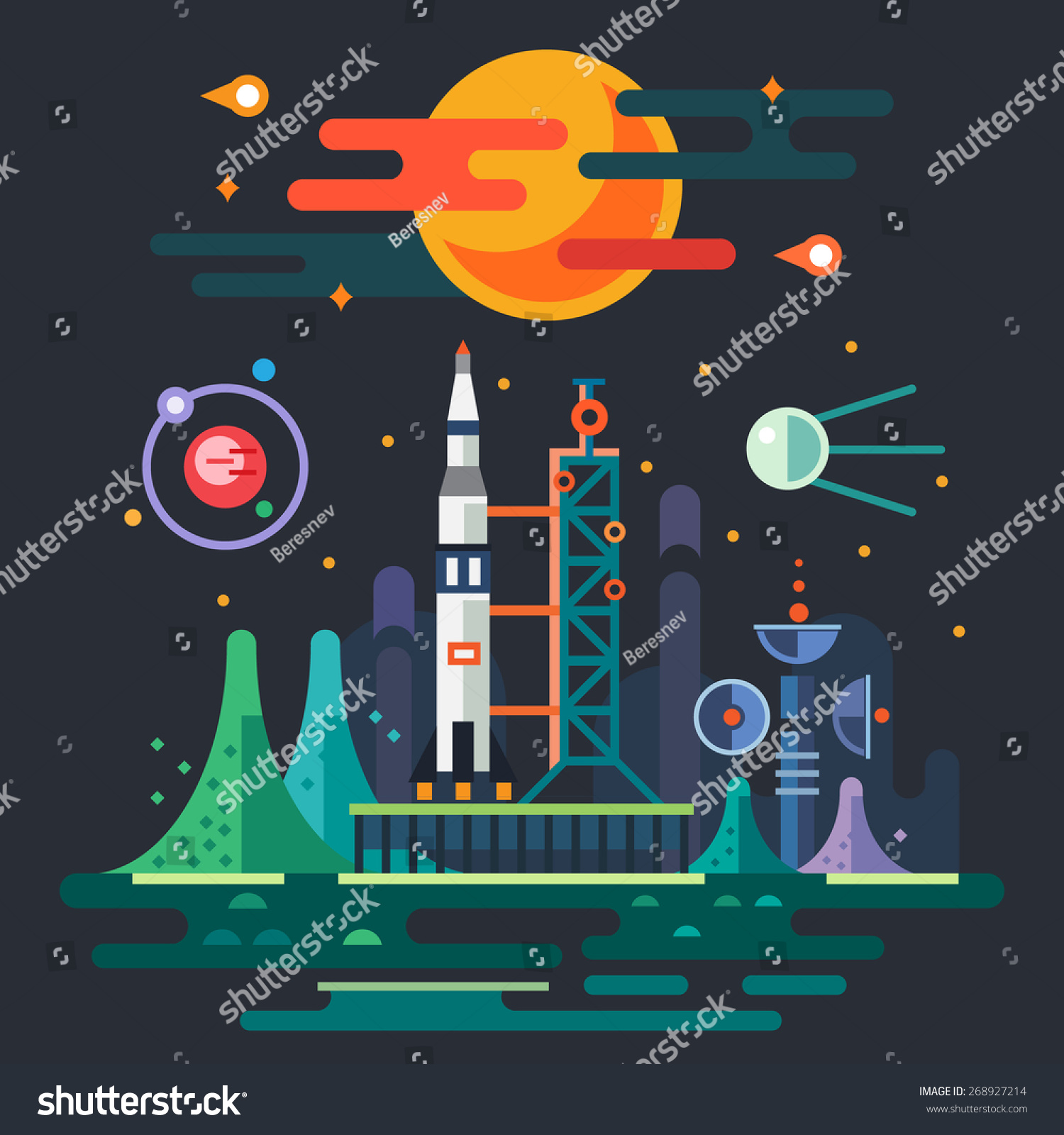 Space landscape rocket launch on background stock vector for Outer space garden design cumbria