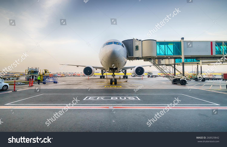 Jet Aircraft Docked In Dubai International Airport Stock Photo 268929842  Sh